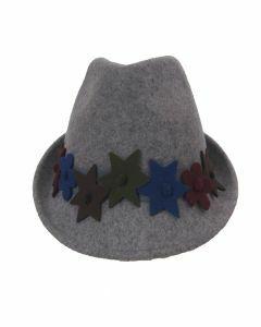 Lichtgrijze wollen fedora hoed met sterren