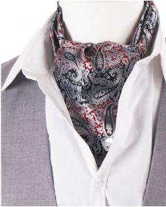 Set van zilvergrijze/rood-zwarte cravat + pochet