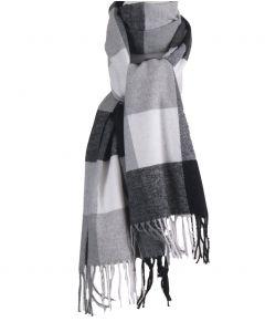 Zachte sjaal met ruiten in grijs-tinten