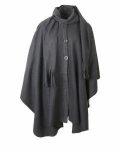 Grijze fleece cape met knoopsluiting