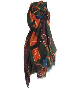 Dennengroene sjaal met ceintuurprint