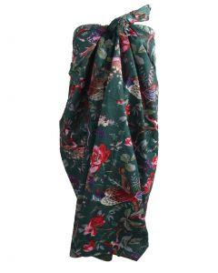 Donkergroene katoenen sarong met vogel- en bloemenprint