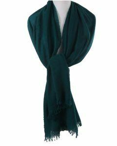 Petrol kleurige stola/sjaal van 100% kasjmier