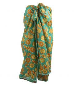 Groene sarong met sinaasappel print