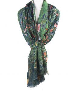 Wollen mousseline schilderij-sjaal met afbeelding van Gustav Klimt