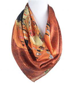 """Vierkante zijden sjaal met afbeelding van de """"de Kus"""" van Gustav Klimt"""