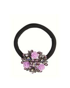 Haarelastiek met broche rozet met strass en roze roosjes