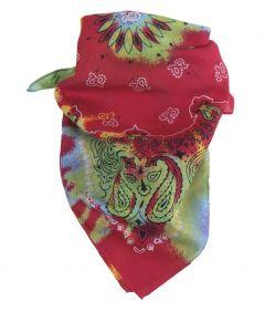 Hardroze bandana / boerenzakdoek met tie & dye