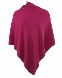 Kasjmier-blend poncho in donkerroze