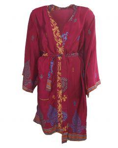 Fuchsia zijden kimono met ornament print