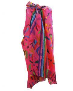 Hardroze katoenen sarong met dieren- en bloemenprint