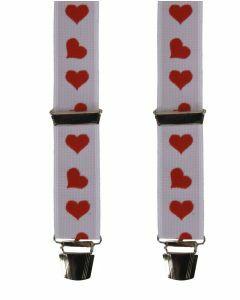 Witte bretels met hartjes print in rood