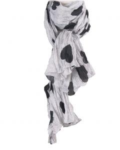 Licht grijze crushed sjaal met hartjes print in zwart