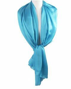 Helder hemelsblauwe effen zijden sjaal/stola