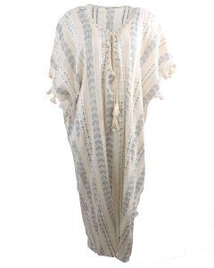 Lange kaftan/strandjurk met geborduurde en versierde V-hals