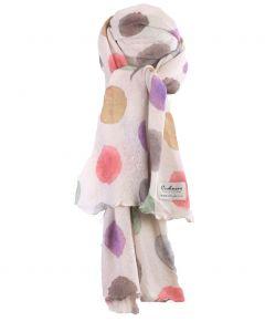 Ecru kasjmiermix sjaal met stippenprint