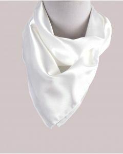 Vierkante satijnen sjaal in de kleur licht-ivoor