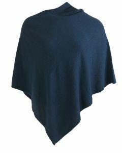 Kasjmier-blend poncho in donker-jeansblauw