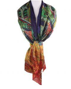 Zijden sjaal/stola met afbeelding van ''De kerk van Auvers''
