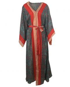 Lange zijden kimono met paisley print