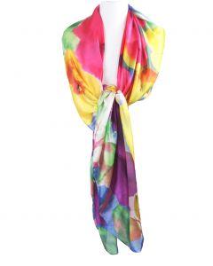 Sjaal in zijdeblend met kleurrijke bloemenprint