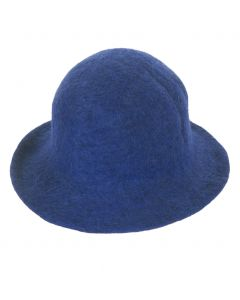 Vilten wollen hoedje in kobaltblauw
