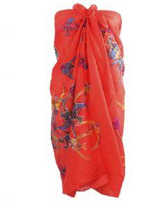 Koraalroze sarong met vissenprint
