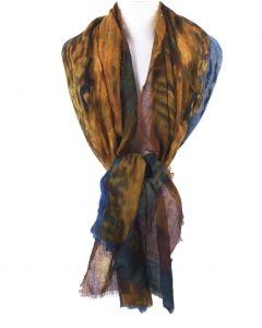 Wollen mousseline schilderij-sjaal met afbeelding van ''Korenveld met kraaien''