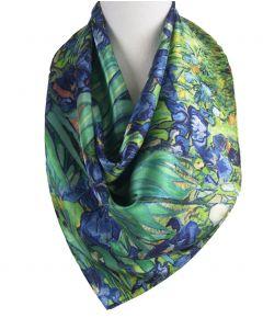 """Vierkante zijden sjaal met afbeelding van de """"Irissen'' van Gogh"""