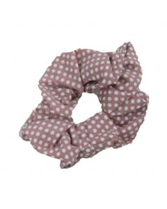 Scrunchie in oudroze met stippenprint