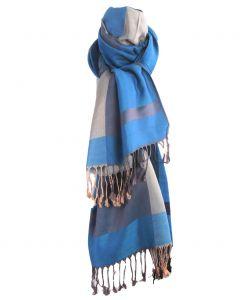 Pashmina sjaal met kleurvlakken in turquoise en grijs