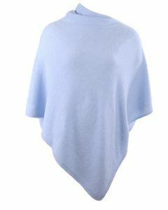 Lichtblauwe kasjmier-blend poncho