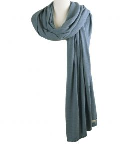 Kasjmier-blend sjaal/omslagdoek in jeansblauw