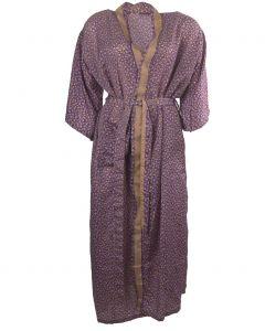 Lange paarse zijden kimono bladeren print