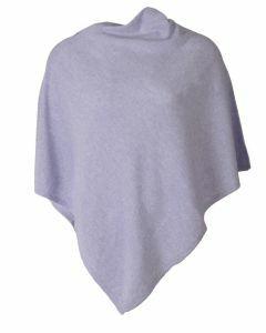 Kasjmier-blend poncho in licht-lila