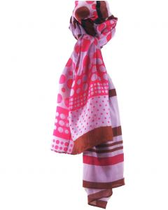 Zijde-blend sjaal in lila en hardroze