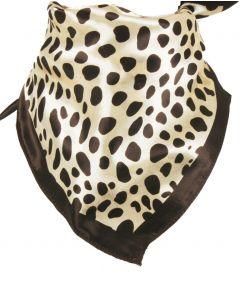 Ivoorkleurige halsdoek met bruin luipaard motief