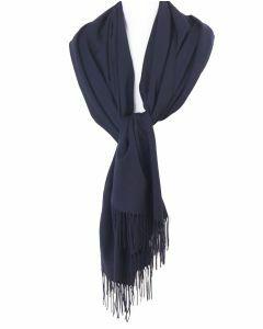 Soepelvallende effen marineblauwe pashmina sjaal