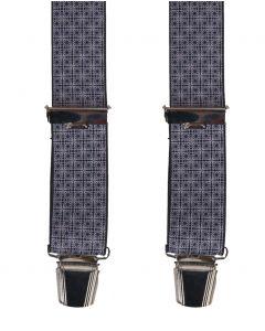 lichtgrijze bretels met ruit- en bloemetjes print