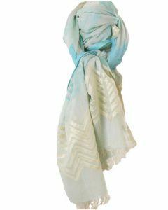 Mintgroene sjaal met zigzag patronen