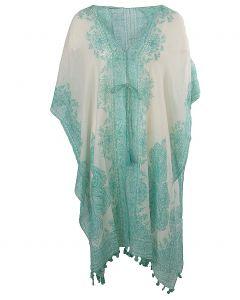 Katoenen kimono in met paisley print in mintgroen