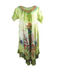 Soepelvallende lime groene jurk
