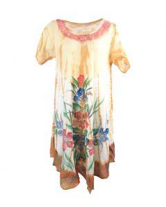 Beige jurk met bloemenprint