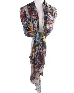 Zijden stola/sjaal met een schildering van ''Wassily Kandinsky''