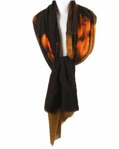 Wollen mousseline schilderij-sjaal met afbeelding van de Mona Lisa