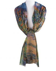 """Sjaal met een print van """"Monet's garden at Vétheuil"""" van Claude Monet"""