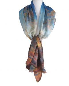 Zijden sjaal met een schildering van ''Claude Monet''