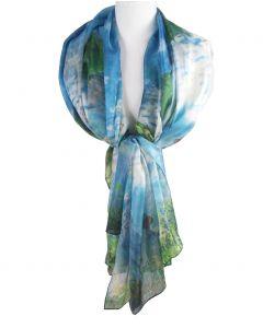 Zijden sjaal/stola met een print ''Vrouw met Parasol'' van Claude Monet
