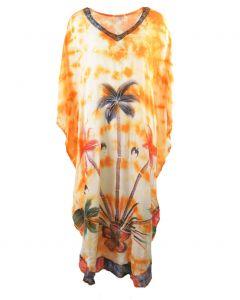 Oranje kaftan met palmbomen- en wolk print en V-hals