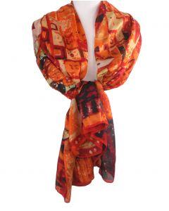 Zijden sjaal/stola in oranje met afbeelding van''Portret van Adèle Bloch-Bauer I''